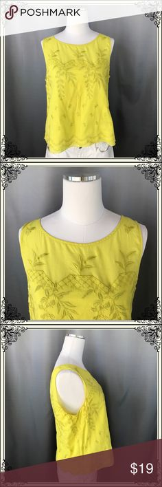 Anthropologie Moulinette Soeurs Yellow Top #855 Cute Yellow Embroidered 💯% cotton Tank. This Moulinette Soeurs is fully lined and is a perfect color yellow. Not your bright yellow, a muted yellow. So perfect. Anthropologie Tops Tank Tops