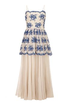 1930s Organza & Blue Embroidered Gown | See more vintage Evening Dresses at https://www.1stdibs.com/fashion/clothing/evening-dresses in 1stdibs
