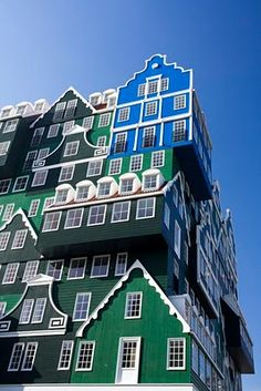 Inntel Hotel in the Netherlands, is made up of houses and looks like a dollhouse