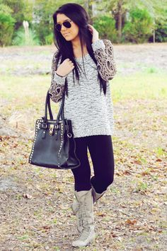 Sweater leggings boots and purse