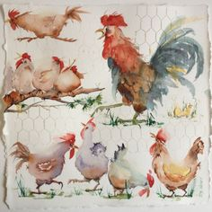 Rooster for Kitchen . Rooster for Kitchen . Watercolor Bird, Watercolor Animals, Watercolour Painting, Painting & Drawing, Watercolors, Chicken Painting, Chicken Art, Farm Art, Chickens And Roosters