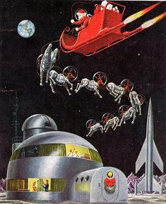 50's optimism: December 1954 issue of Science Fiction, featuring Santa with space-suited reindeer.