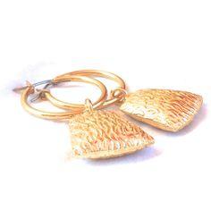 Gold Filled Hoop Earrings, modern geometric earrings minimalist... (55 ILS) ❤ liked on Polyvore featuring jewelry, earrings, anniversary jewelry, earrings jewellery, drop dangle earrings, geometric earrings and dangling jewelry