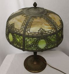 antique slag glass | ... Lighting > Electric > Antique Slag Glass with Metal Overlay Table Lamp