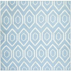 Safavieh Dhurries Square Blue Geometric Woven Wool Area Rug (Common: 6-ft x 6-ft; Actual: 6-ft x 6-ft)