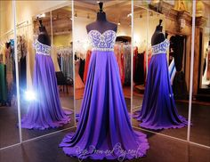 Beautiful purple strapless prom dress