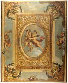 A trompe l'oeil ceiling painting with putti disporting Oil Painting - Daniel the Elder Marot