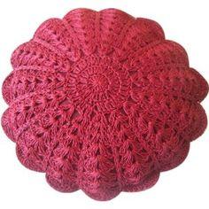 Almofada crochê vermelha