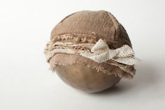 newborn GIRL fabric hat with bow - photography prop - tan, beige, gold, khaki. $36.00, via Etsy.