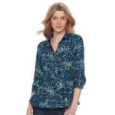 Women's Dana Buchman Pleated Peplum Shirt, Size: Medium, Brt Blue
