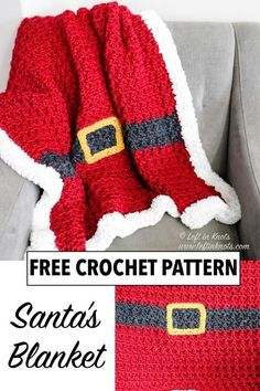 Crochet Santa, Christmas Crochet Patterns, Holiday Crochet, Afghan Crochet Patterns, Crochet Stitches, Crochet Hooks, Crochet Baby, Free Crochet, Knit Crochet
