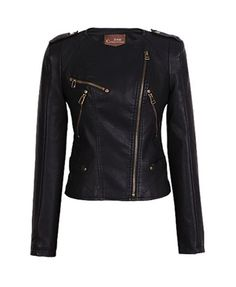 Black PU Motorcycle Jackets with Zipped Deatil