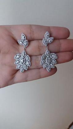 Beautiful, high quality, AAA grade cubic zirconia earrings in rhodium plate.