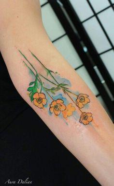 Aura Dalian - watercolor buttercups Buttercup Tattoo, Watercolor Tattoo, Tatting, Body Art, Dalian, Ink, Tattoo Ideas, Poppy, Bobbin Lace