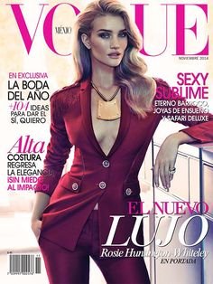 Rosie Huntington Whiteley Rocks Versace Pantsuit for Vogue Mexico November 2014 Cover