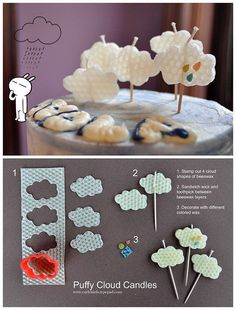 DIY Puffy Cloud Candles