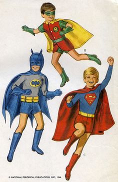 Vintage McCalls  Sewing Pattern Superhero Costumes Superman Batman Robin