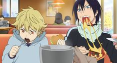 Noragami ~~ Stuffing their faces :: Yato and Yukine in episode 3 Noragami Season 2, Noragami Bishamon, Noragami Manga, Manga Anime, Noragami Cosplay, Barakamon, Japanese Love, Nichijou, Hyouka