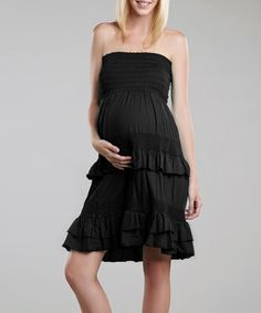 Take a look at this Black Crochet Maternity Convertible Dress by Maternal America on #zulily today!