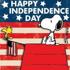 HAPPY INDEPENDENCE DAY Snoopy and Woodstock celebrate on July 4th.