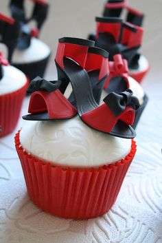 Mini shoe cupcakes.
