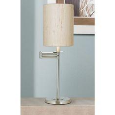Ivory Linen Brushed Nickel Finish Swing Arm Desk Lamp