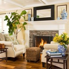 Stacked Stone Fireplace with Wood Mantel traditional - Mantle smaller and TV over - basically the keeping room