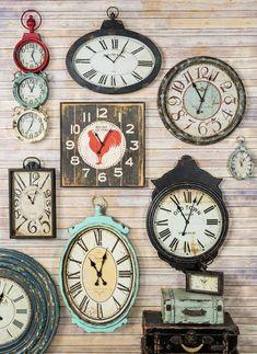 Decorating ideas for the home - Decorating wall clocks, vintage - Ideas de #decoración de paredes, relojes de estilo vintage