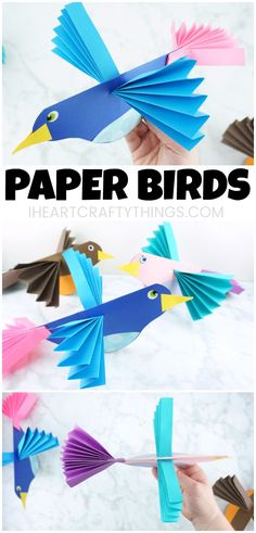 This colorful accordion fold paper bird craft is a perfect compliment to enjoying some bird watching in your neighborhood this spring and learning about birds. After making their own colorful bird craft, kids will enjoy flying them around all afternoon. #papercraft #papercrafting #papercrafts #craftsforkids #kidscraft #kidsactivities #iheartcraftythings #bird