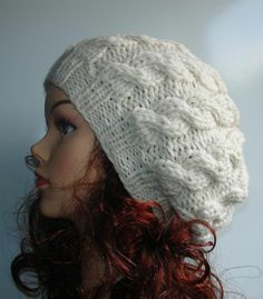 Knit+Hats+For+Women | Hand Knit cable Hat beret women cable knit hat slouch by Ifonka, $28 ...