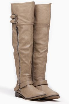 Breckelles Beige Knee High Wonderlust Rider Boots