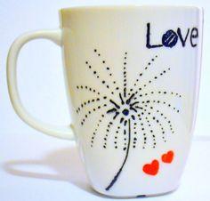Dandelion Coffee Mug  Love  Make A Wish  by DreamAndCraft on Etsy, $15.00