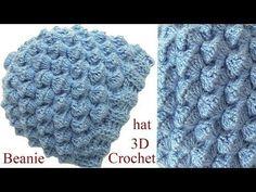 Gorro a Crochet en punto conchitas 3D tejido tallermanualperu - YouTube