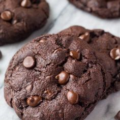 Bakery Style Double Chocolate Chip Cookies. These cookies are fudgy, chewy, gooey & super chocolatey.