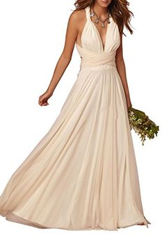 Ethel Womens Vneck Halter Corset Long Bridal Dresses for Wedding Party *** Continue to the product at the image link.