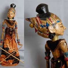 Indonesian Wayang Golek Srikandi Vintage Rod Puppet. $54.00, via Etsy.