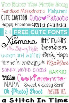24 free cute fonts for your craft projects - http://www.remakingjunecleaver.com/free-cute-fonts/
