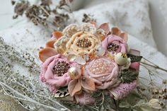 Купить Брошь. Майский букет. - бледно-розовый, чайные розы, майские розы, розы