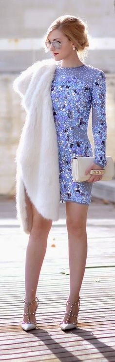 Dreamy New Year's Eve look: lilac embellished dress, white faux fur collar and studded heels.