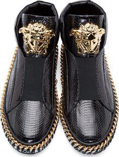 Versace Black Snakeskin Medusa Sneakers