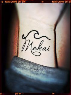 Wave Tattoo Makai Hawaiian term directional= towards the ocean, on hip