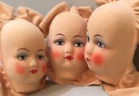 """Vtg Felt Mask Lenci Era Doll Face Lot """"British Made"""" NOS Art Quilt Mixed Media"""
