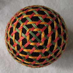 I like how this temari turned out with the concentric bands changing from a square near the pole to a circle at the equator. And from another view, a different pattern is visible: The next temari w...