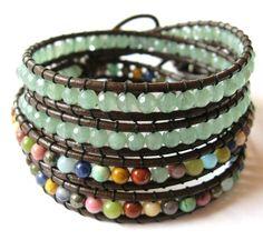 Double wrap aventurine leather bracelet