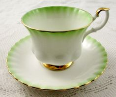 Royal Albert Tea Cup and Saucer Green Rainbow Series, Vintage Bone China