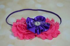 Children headband Hot Pink and Purple by AnniesChicBowtique