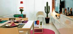 Apartamento pequeno alugado com boas ideias de decoração.