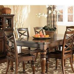 Nebraska Furniture Mart – Millennium 7-Piece Dining Set with X-Back Chairs