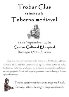 Taberna Medieval 13/9/12 22 hs Evento recreacionista medieval y fantástico