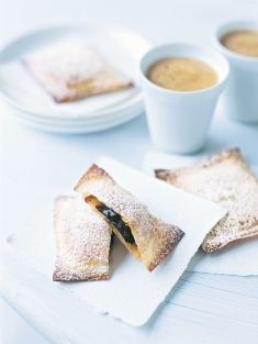 apple and dark chocolate wonton parcels. Donna also does a great cheats Millefeuille using the wanton  pastry
